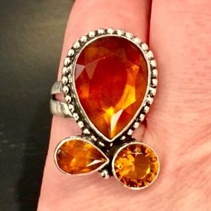Golden Topaz Sterling Silver Ring Size 6.25